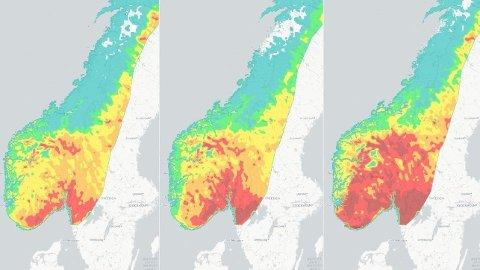 Det er meldt skogbrannfare gjennom hele helgen på Østlandet. På kartet her kan man se hvordan skogbrannfaren utvikler seg gjennom fredag, lørdag og søndag. Foto: Skjermdump fra Meteorologisk institutt