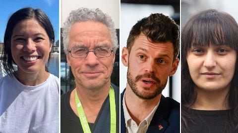 KAN GLISE: Disse fire kan glise over Nettavisens nye måling - MDGs toppkandidater i Oslo, Lan Marie Berg (f.v) og Rasmus Hansson, og Rødts toppkandidater, Bjørnar Moxnes og Seher Aydar.