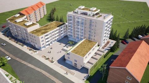 OPPGRADERES: Utbyggeren vil ha mer grønt rundt Kalbakken senter, og får støtte fra kommunen.