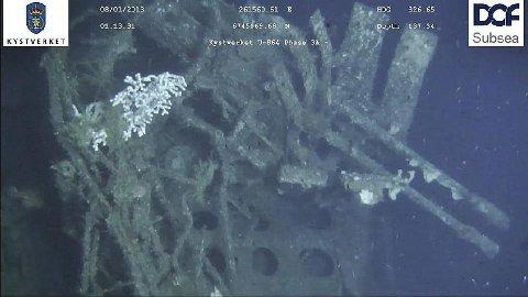 Dette er bilder av den tyske ubåten U-864. Foto: Kystverket/DOF Subsea