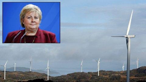 POPPER OPP: Det bygges vindkraftverk i Norge som aldri før. Statsminister Erna Solberg (innfelt) gleder seg over at vindkraft begynner å bli lønnsomt uten subsidier. – Vi trenger mer fornybar kraft, sier hun. Bildet er fra Midtfjellet vindkraftverk i Fitjar. FOTO: Eirik Brekke