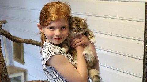 Dottera Eunike på 9 år. Ho likar seg godt på kattehotellet.