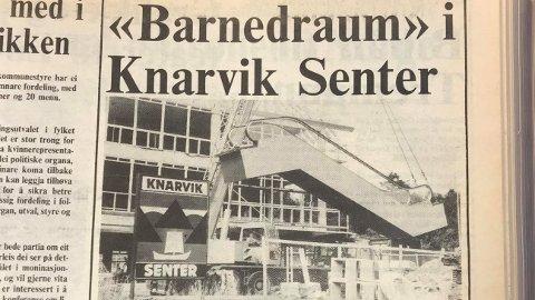 Bilde av den fyrste rulletrappa i Nordhordland, henta frå laurdagsavisa 4. september 1982.