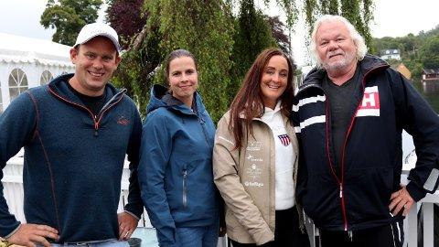Arrangementskomiteen var på befaring på Solholmen denne uken. F.v.: Arne Greve (powerbåt-pilot), Ingrid Sandvik (komitésekretær), Beate Martinussen (komitéleder) og Jarle Samuelsen (innehaver av Solholmen).