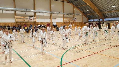 NORDHORDLANDSHALLEN: Dei yngste i Nordhordland Karateklubb har hatt faste treningar i hallen kvar tysdag i fleire år. No må dei vike for massevaksinering..