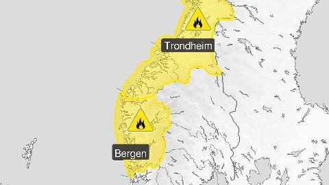 Det er sendt ut gult farevarsel om skogbrannfare i store delar av landet. Også rundt Bergen må ein passe på etter den siste tidas finvêr.