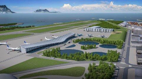 Slik tenker arkitekt Ceilia Granfield seg det nye terminalbygget og området rundt. - Vi vil ha en luftig form, sier Glanfield, som også har tegnet inn en transparent førsteetasje og en park i forkant av bygget. Skisse: Baezeni