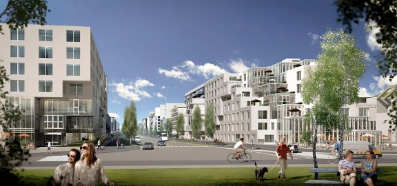 En solskinnsdag på Yankee Avenue. Kommunen skisserer boliger til rundt 15.000–18.000 mennesker, men med store reserver til å bygge mer i framtiden, rundt 1.200 dekar grøntarealer og 800 dekar sammenhengene næringsareal nord for flyplassen. Skisse: Baezeni