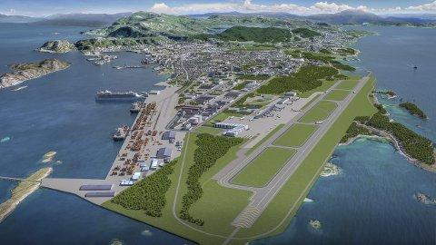Ny by – Ny Flyplass: På vårparten i fjor kom tre regjeringsmedlemmer med Siv Jensen i spissen og la fram at de ville ha utredet ny rullebane i Bodø. Illustrasjon: Bodø kommune