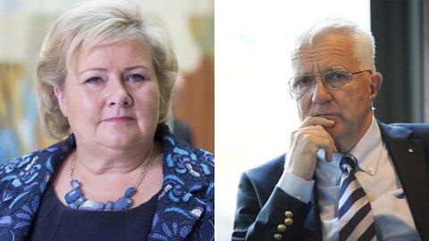 MISFORNØYD: Erna Solberg likte svært dårlig lederatikkelen til Trygve Hegnar i Finansavisen. Foto: Terje Pedersen / Torstein Bøe / NTB scanpix