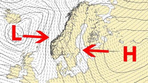 OPPGJØRETS TIME: Hva som blir sterkest av lavtrykket fra vest og høytrykket fra øst vil avgjøre hva slags høstferie nordlendingene vil få til neste uke.