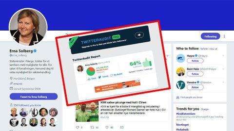 Twitter-kontoen til statsminister Erna Solberg hadde en stor andel falske følgere, viser en gjennomgang gjort av TwitterAudit for syv måneder siden. Foto: Twitter (faksimile/montasje)