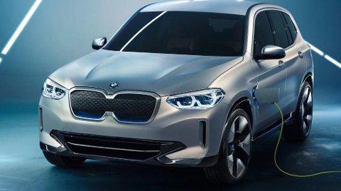 Slik ser konseptversjonen av BMW iX3 ut. Bilen går i produksjon i 2020, men norske kunder kan allerede reservere den.