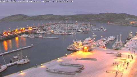 Et par minusgrader og pent vintervær i Bodø han torsdag morgen. Til helgen blir det annerledes.