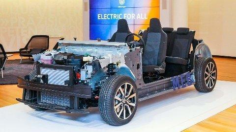 CHASSIS: Dette chassiset skal være grunnlaget for over 50 forskjellige Volkswagen modeller i fremtiden. Foto: Volkswagen Group