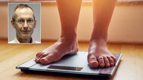 Hvis du har en BMI mellom 25 og 29,9, er anbefalingen fra fedmeekspert Jøran Hjelmesæth at du lar være å slanke deg, men heller fokuserer på å holde vekta. Foto: IStock/Sykehuset i Vestfold