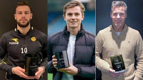 VINNERNE: Philip Zinckernagel, Johan Hove og Kjetil Knutsen kroner strålende sesonger med hver sin utgave av Nettavisen-prisen.