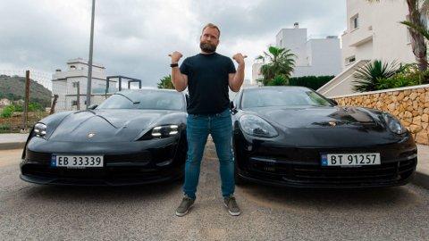 Det er over fem uker siden Erik Windahl Olsen la ut på langtur med sin Porsche Taycan. Og det er fortsatt et par uker det bærer av gårde til Norge igjen. Tiden i Spania har han brukt på å planlegge hjemreisen nøye. Bilder: Rufus Tangen
