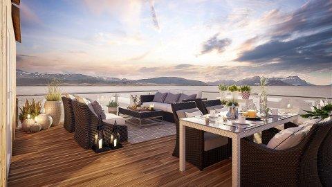 Utsikt: Husene til over 11,5 millioner kroner kan lokke med en storslagen utsikt over Saltfjorden og Børvasstidene. To av fire hus er allerede solgt, selv om de ikke er lagt ut.