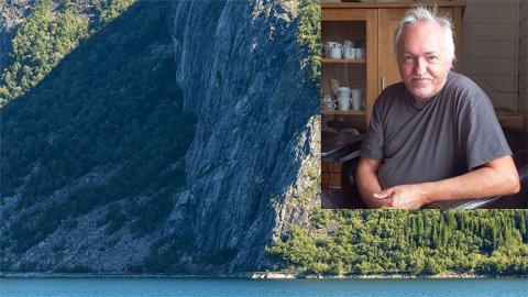 Frykter større ras: Eivind Nilsen har sett og fotografert flere steiner som raser ned fjellsiden, men nå er han engstelig for at rasene skal ta med seg enda større masser ned på veien og ut i vannet.