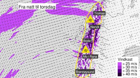 VINDKAST: Det ventes kraftige vindkast i Salten og resten av Nordland fra natt til torsdag av. Det fører også til en bitende kulde.