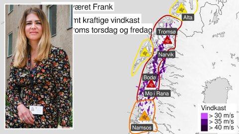 """Silje Valberg er beredskapsleder i Bodø kommune. Hun oppfordrer folk til å holde seg hjemme når ekstremværet """"Frank"""" treffer Salten torsdag."""