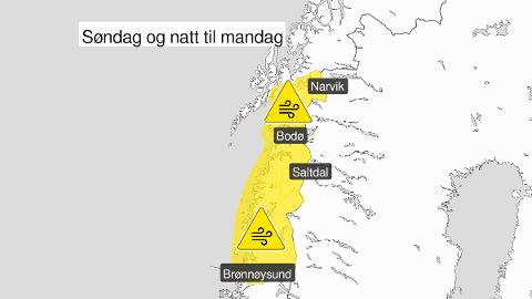 Det er sendt ut farevarsel for kraftige vindkast i Nordland søndag.