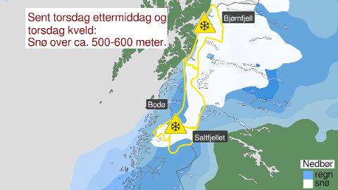 Kartet fra Varsom.no tyder på snø i grenseområdene i Salten.