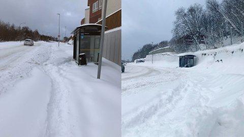 Fortsatt snø: Kommunen har ikke rukket over alle fortau og gater i Bodø, men forsikrer om at de er på vei.