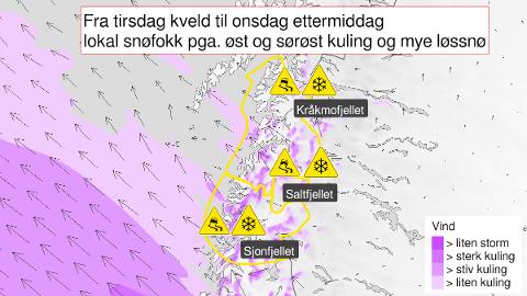 Varselet fra meteorologene ble sendt ut i 12-tiden tirsdag.