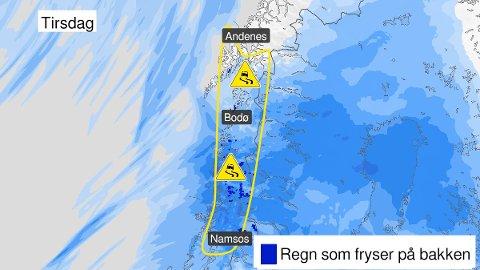 GULT FAREVARSEL: De neste dagene vil regnet kunne fryse på kald bakke.