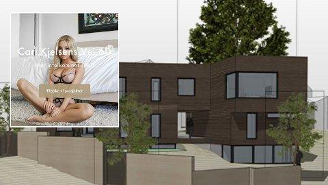 SPESIELT: Annonsen for boligprosjektet på Korsvoll ble hacket, hevder ut utvikleren Atlas Utvikling, da det kom reaksjoner på at et bilde av en lettkledd kvinne preget annonsen.
