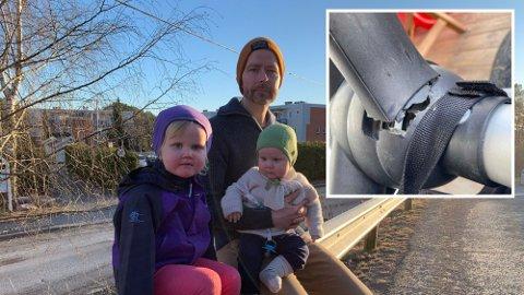 Barnevognen til minstemann Ivar Olai ble ødelagt etter en flytur med Norwegian. Her ser vi far Jan Magne Eriksen Bae og storesøster Oline. Foto: Montasje: (Privat)