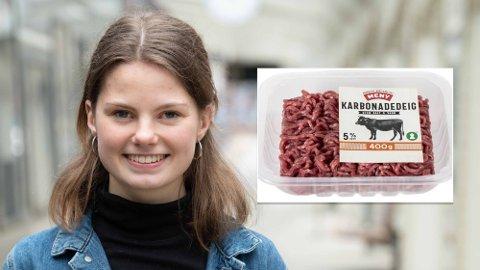 AVGIFT: MDGs 2. kandidat i Hordaland, Josefine Gjerde, vil innføre en 50 kroners avgift på en pakke kjøttdeig. – Helt ekstremt, svarer Frp-politiker. Foto: MDG