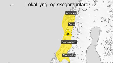 Kart over skogbrannfare, gult nivå, Trøndelag og Nordland , 03 July 00:00 UTC til 07 July 15:00 UTC.
