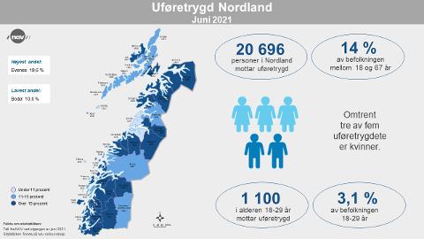 Slik fordeler uføretrygden seg i Nordland.
