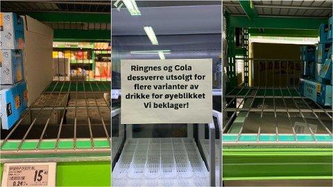 I mange butikker er det tomt for både brødposer og brusbokser.
