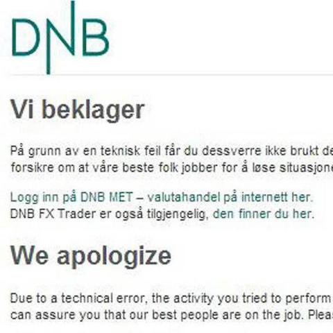 Slik så nettsiden til DNB ut etter dataangrepet i jul i fjor. Også en rekke andre firmas nettsider lå nede etter angrepet.