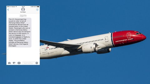 Norwegian sender nå ut denne meldigen til alle som reiser til USA. Gir du blaffen, kan det blir ekstremt dyrt. (Norwegian/Privat)