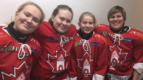 Ishockeyfamilien med Karoline Flaa, Sanna Flaa, Lea Flaa og mor Gry Johannessen Flaa spilte sammen i Stavanger for to uker siden. (Foto: Privat)