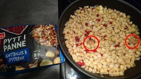 """Dette er bildet som Magnus Willumsen tok av gryten med """"Pytt i panne, med kjøttboller og tyttebær""""."""