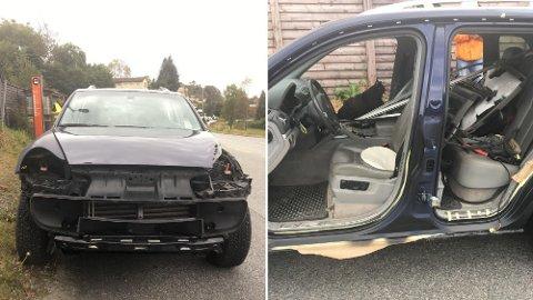 Politiet stoppet en Porsche Cayenne uten dører, lykter eller støtfangere.