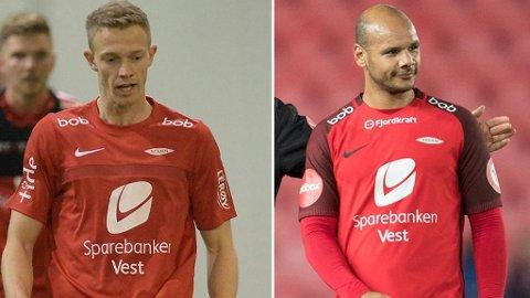 Peter Orry Larsen (til venstre) og Daniel Braaten forlater Brann etter denne sesongen.