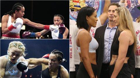 Cecilia Brækhus' kamp mot Aleksandra Magdziak-Lopes (til høyre) blir hennes tredje i år, etter kampen mot Kali Reis (øverst til venstre) i mai og mot Inna Sagajdakovskaja (nederst til venstre) i september.
