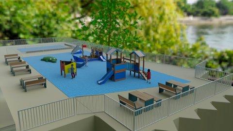 Den nye lekeplassen vil se noen lunde ut slik som denne illustrasjonen.