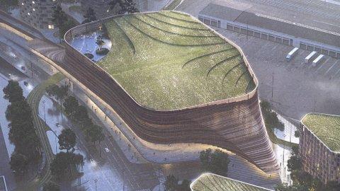 Sett fra luften: Grønne tak skal kunne hjelpe til med å fange opp regnet. Boligene ligger i blokkene til venstre.