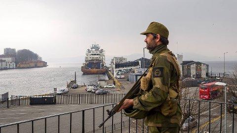 Denne uken øver Heimevernet i Bergen igjen. Dette bildet er fra april i fjor, da 1600 HV-soldaterer deltok i «Øvelse Bjørgvin 2018».