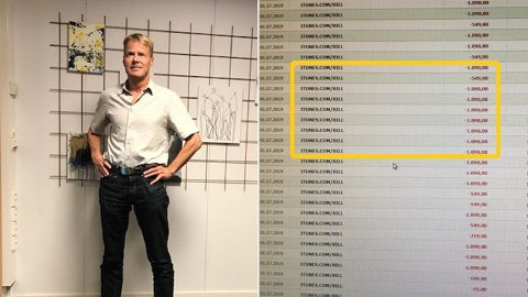 38 ganger ble kontoen hans trukket for tjenester på iTunes. Totalt ble det over 30.000 kroner. Foto: Privat