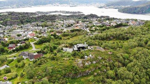 Dronebilde over Kleppe på Askøy Vannskandalen
