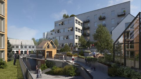 Illustrasjon av hvordan man ser for seg prosjektet i Hopsfossen.